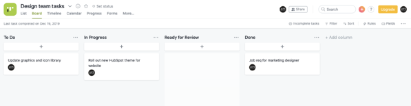 Sample task board in Asana showing To Do, In Progress, Ready for Review, and Done columns