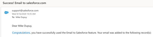 Confirmation from Salesforce that email was successfully logged